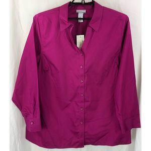 Catherines Non-Iron button front blouse top 6344